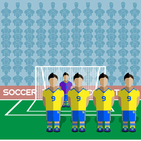 crossbar: Ukraine Football Club Soccer Players Silhouettes. Computer game Soccer team players big set. Sports infographic. Football Teams in Flat Style. Goalkeeper Standing in a Goal. Vector illustration. Illustration