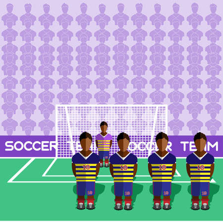 crossbar: Ecuador Football Club Soccer Players Silhouettes. Computer game Soccer team players big set. Sports infographic. Football Teams in Flat Style. Goalkeeper Standing in a Goal. Vector illustration.