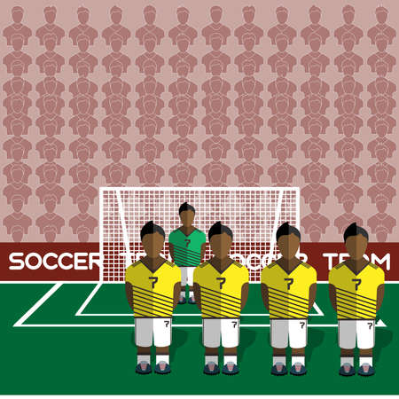 crossbar: Colombia Football Club Soccer Players Silhouettes. Computer game Soccer team players big set. Sports infographic. Football Teams in Flat Style. Goalkeeper Standing in a Goal. Vector illustration.