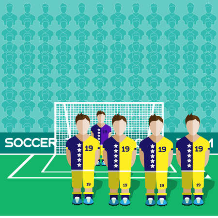 computer club: Bosnia and Herzegovina Football Club Soccer Players Silhouettes. Computer game Soccer team players big set. Sports infographic. Football Teams in Flat Style. Goalkeeper Standing in a Goal.
