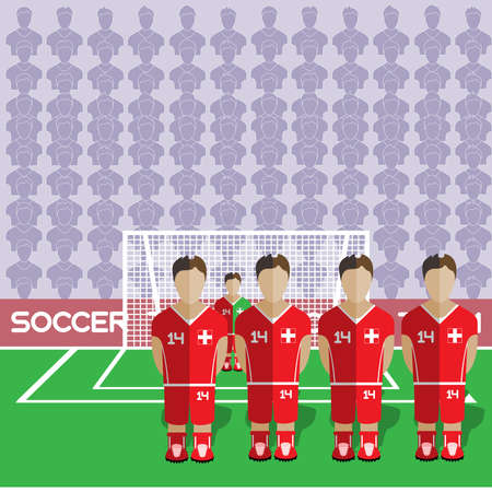 crossbar: Switzerland Football Club Soccer Players Silhouettes. Computer game Soccer team players big set. Sports infographic. Football Teams in Flat Style. Goalkeeper Standing in a Goal. Vector illustration. Illustration
