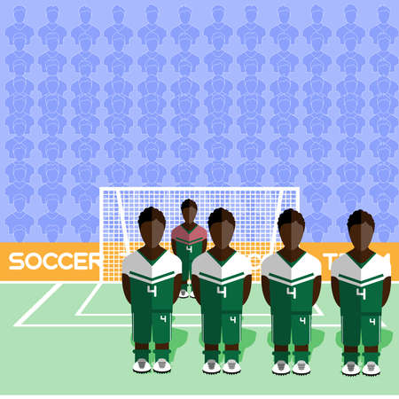 crossbar: Nigeria Football Club Soccer Players Silhouettes. Computer game Soccer team players big set. Sports infographic. Football Teams in Flat Style. Goalkeeper Standing in a Goal.
