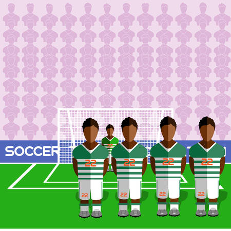 crossbar: Cote dIvoire Football Club Soccer Players Silhouettes. Computer game Soccer team players big set. Sports infographic. Football Teams in Flat Style. Goalkeeper Standing in a Goal.