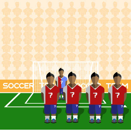 crossbar: Costa Rica Football Club Soccer Players Silhouettes. Computer game Soccer team players big set. Sports infographic. Football Teams in Flat Style. Goalkeeper Standing in a Goal.