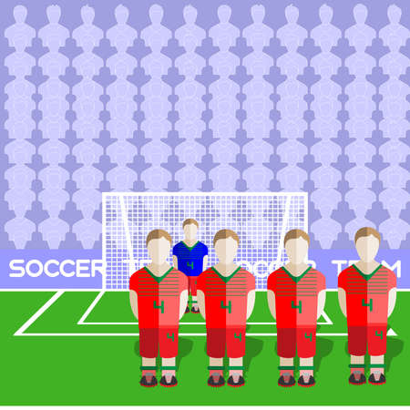 sports team: Belarus Football Club Soccer Players Silhouettes. Computer game Soccer team players big set. Sports infographic. Football Teams in Flat Style. Goalkeeper Standing in a Goal.