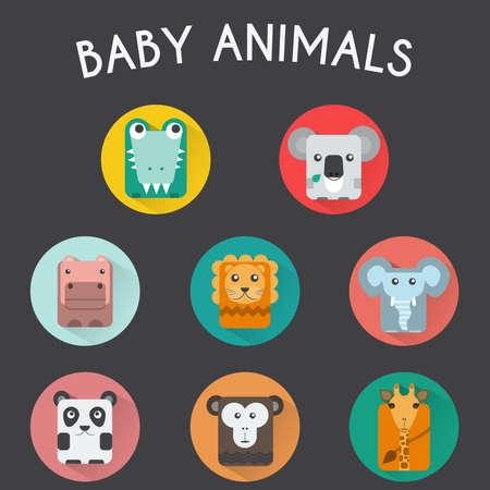 chimp: Baby Animals Round Icons Set. Elephant, Crocodile, Giraffe, Koala, Hippo, Lion, Panda and Chimp Characters. Colorful vector illustrations.