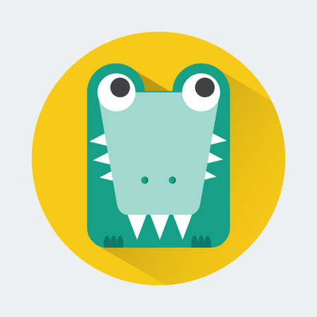 toy story: Baby Animal Round Icon. Crocodile Character Design. Colorful vector illustration.