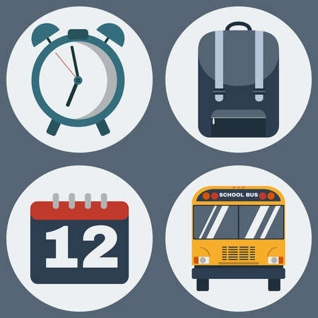 daily life: School Education Round Icons Set. Different objects used in daily life education. Alarm Clock, Backpack, Calendar and School Bus. Vector digital illustrations.
