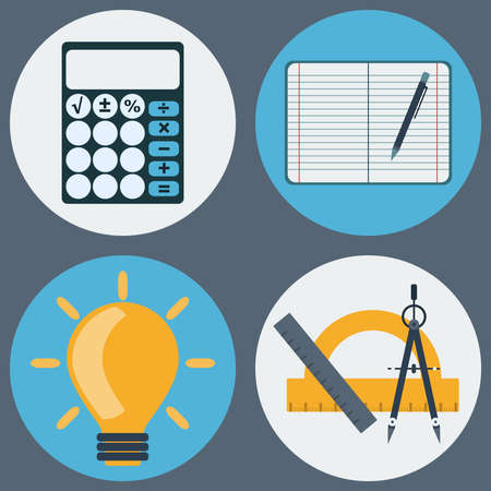 daily life: School Education Round Icons Set. Different objects used in daily life education. Calculator, Notebook with Pencil, Light Bulb, Compass and Rulers. Vector digital illustrations.