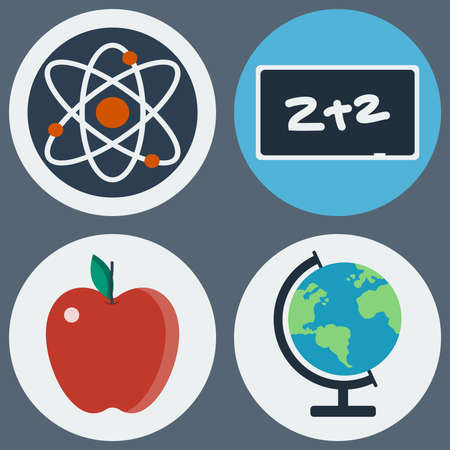 electrons: School Education Round Icons Set. Different objects used in daily life education. Atoms and Electrons, Chalkboard, Apple and Earth Globe. Vector digital illustrations. Illustration
