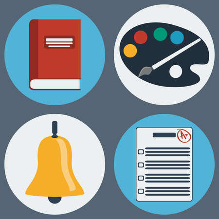 daily life: School Education Round Icons Set. Different objects used in daily life education. Manual, Painting Palette with Brush, Ring Bell and Test Paper. Vector digital illustrations. Illustration