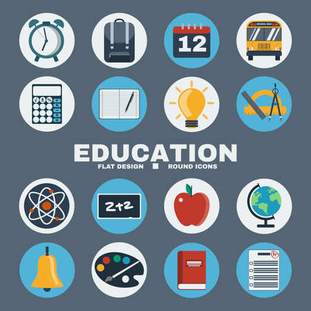 electrons: School Education Round Icons Set. Different objects used in daily life education. Alarm Clock, Backpack, Calendar, Atoms and Electrons, Chalkboard, Apple and School Bus. Vector digital illustrations. Illustration