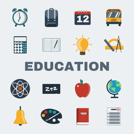 daily life: School Education Round Icons Set. Different objects used in daily life education. Manual, Palette, Bell, Calculator, Notebook, Compass, Rulers, Atoms, Chalkboard, Earth Globe. Vector illustrations.