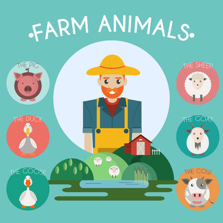 sheep barn: Farm Animals and Birds Round Icons Set. Cow, Goat, Sheep, Pig, Duck and Goose. Country barn on a hill with a lake. Farmer character with a hat. Vector illustration.