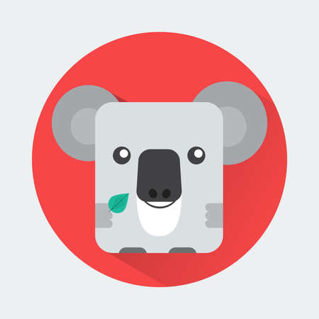 toy story: Baby Animal Round Icon. Koala Character Design. Colorful vector illustration.