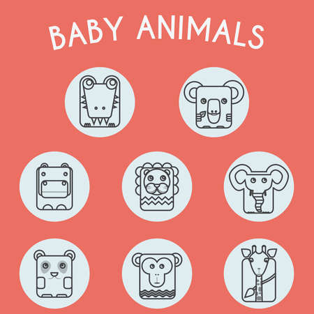 toy story: Baby Animals Round Icons Set. Elephant, Crocodile, Giraffe, Koala, Hippo, Lion, Panda and Chimp Characters. Colorful Line Art Vector illustration.