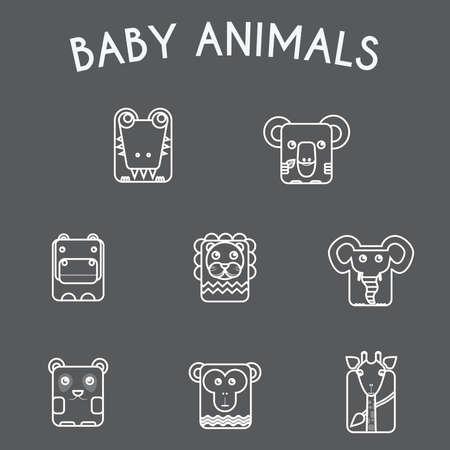 chimp: Baby Animals Round Icons Set. Elephant, Crocodile, Giraffe, Koala, Hippo, Lion, Panda and Chimp Characters. Colorful Line Art Vector illustration.