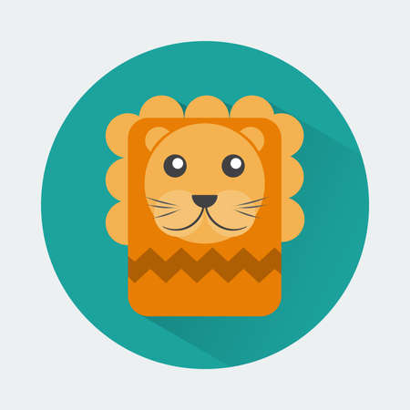 toy story: Baby Animal Round Icon. Lion Character Design. Colorful vector illustration. Illustration