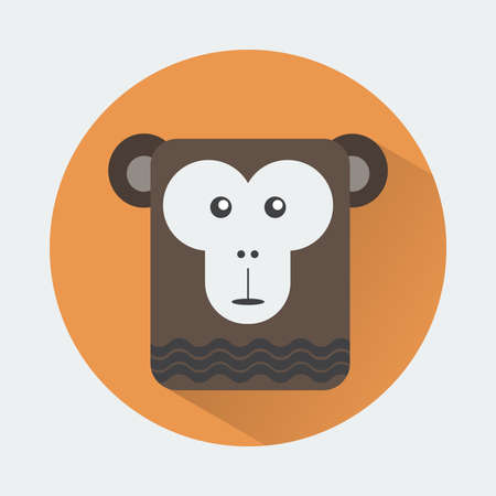 chimp: Baby Animal Round Icon. Chimp Character Design. Colorful vector illustration.