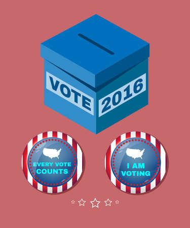 every: Presidential Election Day 2016 Campaign Ad Flyer. Every Vote Counts. Social Promotion Banner. American Flags Symbolic Elements - Red Stripes and White Stars. Vote box digital vector illustration