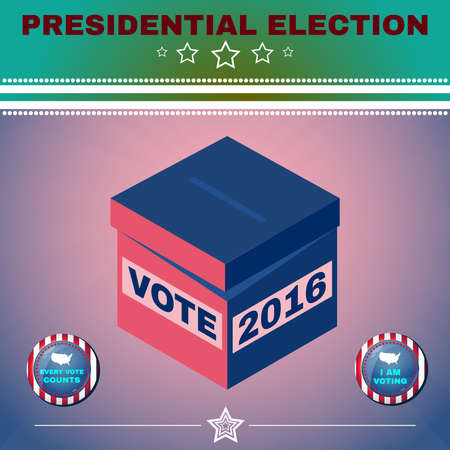 vote box: Presidential Election Day 2016 Campaign Ad Flyer. I Am Voting. Social Promotion Banner. American Flags Symbolic Elements - Red Stripes and White Stars. Vote box digital vector illustration