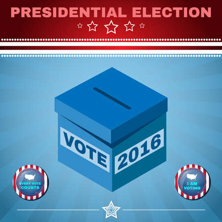 counts: Presidential Election Day 2016 Campaign Ad Flyer. Every Vote Counts. Social Promotion Banner. American Flags Symbolic Elements - Red Stripes and White Stars. Vote box digital vector illustration