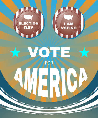 counts: Election Day 2016 Campaign Ad Flyer. I Am Voting. Every Vote Counts. Social Promotion Banner. American Flags Symbolic Elements - Stripes and Stars. Digital vector illustration.