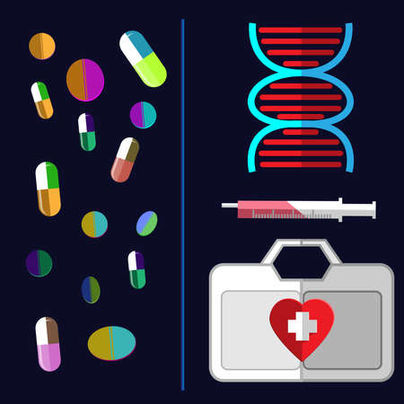 pills: Medical Equipment and Drugs. Colorful Pills Falling. DNA strand with a syringe and medical suitcase. Vector digital healthcare illustration. Illustration