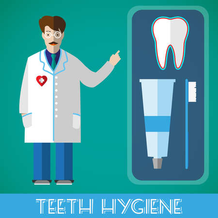 robe: Teeth Hygiene Medical Objects. Tooth, toothpaste, toothbrush. Dentist in a white robe. Vector digital healthcare illustration.