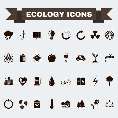 leaves on water: Ecology Icons Set, Nature Symbols. Green energy. Forms and types of renewable energy source. Vector digital illustration.