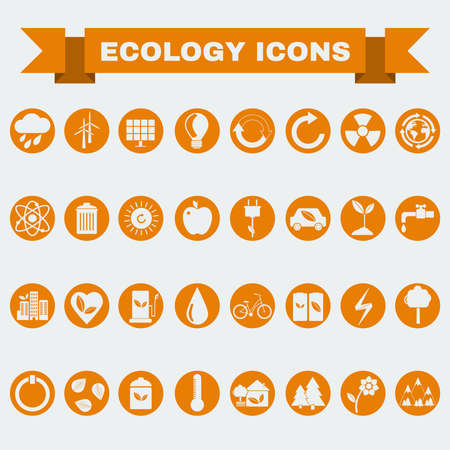 thin bulb: Ecology Icons Set, Nature Symbols. Green energy. Forms and types of renewable energy source. Vector digital illustration.