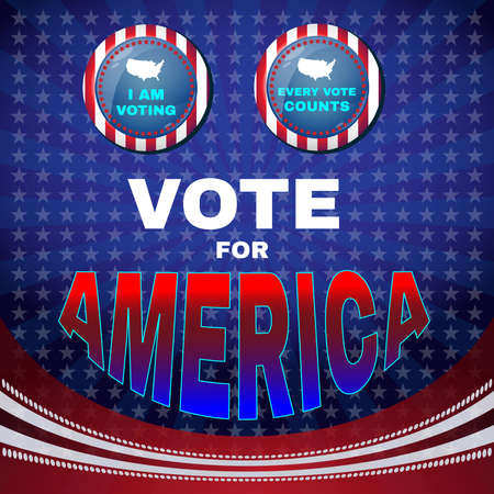 vote: Vote for America Campaign Ad Flyer. I Am Voting Social Promotion Banner. Every Vote Counts. American Flags Symbolic Elements - Red Stripes and Blue Stars. Digital vector illustration.