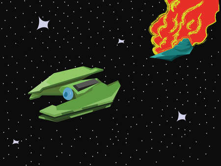 explosion engine: Star Universe Spaceship Battle. Explosion of a Starship in Space. Green Spacecraft flying from a big space explosion. Vector digital illustration.