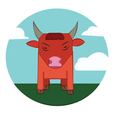 red bull: Red Bull with Horns standing in the green field. Sky with clouds summer landscape. Farm animal in the countryside. Round Icon. Digital vector illustration.