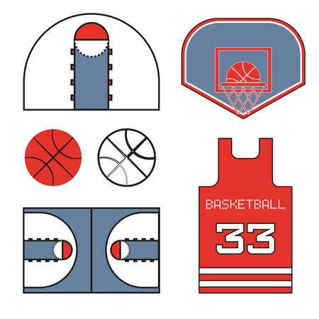 used items: Basketball items. Ball used for playing a basketball game. Sports symbols. Basketball T-shirt Design. Number Thirty-Three. Red Sports Objects. Digital Vector Illustration.