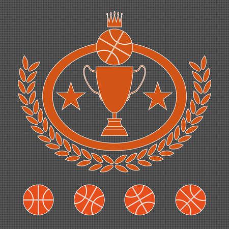 laureate: Basketball Golden Cup. Crown Trophy Prize. Winner Sports Badge Illustration. Laurel Wreath. Golden Goblet with Stars. Digital Vector Image.