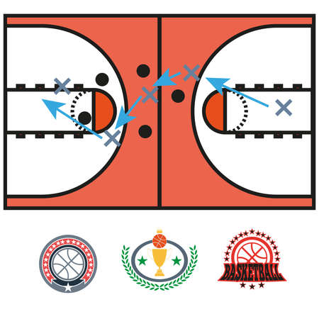 moves: Basketball Game Strategy Drawing. Sports tactics illustration. Strategic gameplay moves. Vector digital image.