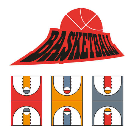 moves: Basketball Game Court Drawing. Sports tactics illustration. Strategic gameplay moves. Vector digital image.