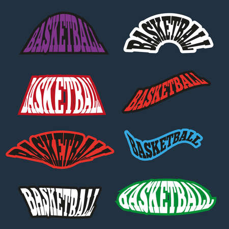athletic type: Basketball text badges. Different Basketball Type Templates. Font Variations. Neon wiggle text examples. Vector banner illustration. Illustration