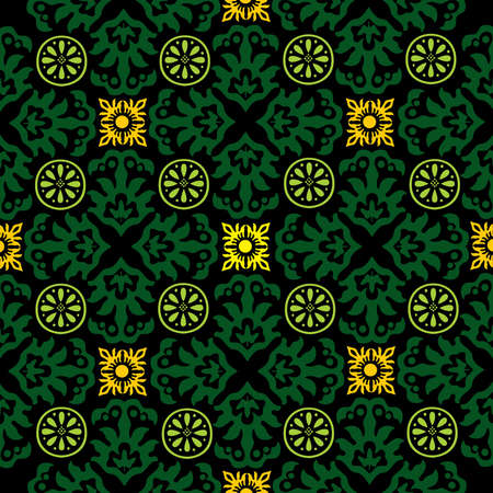 green carpet: Ornamental pattern decoration. Repeated decorative elements. Floral motives. Wrapping paper template. Fashion old style pattern. Vector digital illustration.