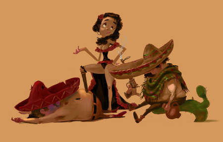 latin food: Three Mexican Characters, Two Men and a Woman. Traditional latinos in sombreros. After a fight scene. Beautiful Mexican Girl between two men. Digital Raster Illustration. Stock Photo