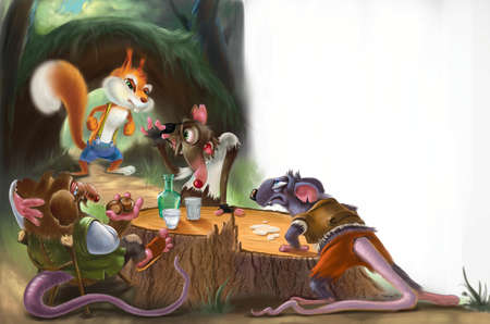 childrens book: Three mice and a squirrel in a forest on a stump. Childrens book illustration. Fairytale scene. Digital raster illustration.