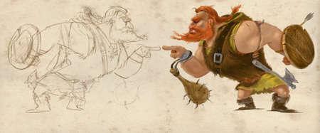 vikingo: De Viking Carácter Ilustración. Mascota de diseño estilizado. versión bosquejada y rendido de un hombre musculoso de pie en posición de ataque. Raster ilustración digital.