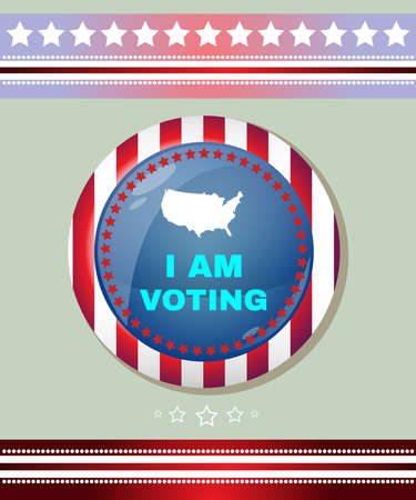 i am: Election Day Campaign Ad Flyer. I Am Voting Social Promotion Banner. American Flags Symbolic Elements - Red Stripes and Blue Stars. Digital vector illustration. Illustration