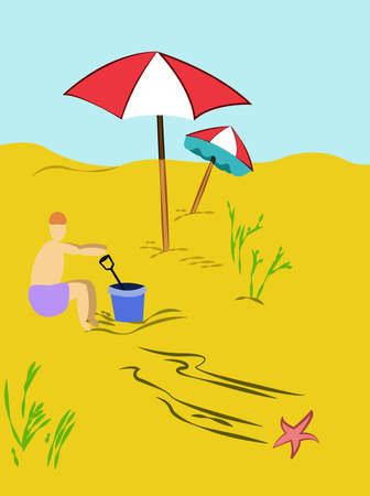 bucket and spade: Summer Holiday Scenery. Child Playing with Bucket and Spade under Beach Umbrella on Sand Seaside. Travel Digital background vector illustration. Illustration