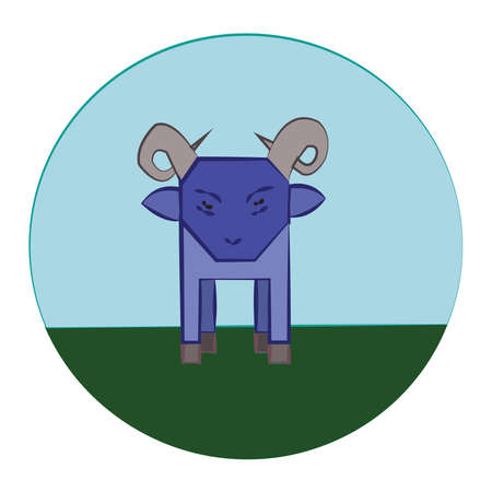 Blue Sheep with Horns standing in the green meadow. Livestock Farm Animal in the Countryside. Round Vector Icon. Digital kids book illustration.