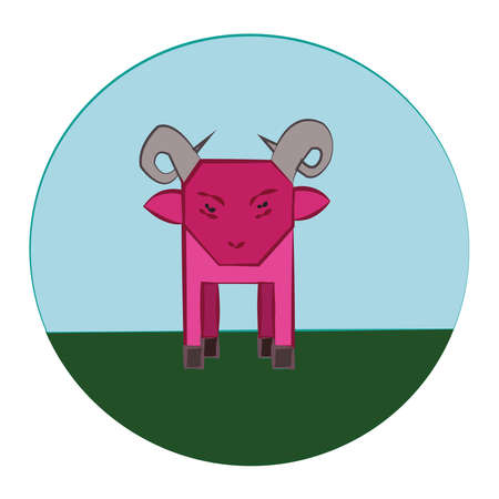 livestock: Pink Sheep with Horns standing in the green meadow. Livestock Farm Animal in the Countryside. Round Vector Icon. Digital kids book illustration.