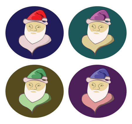 santa cap: Santa Claus colorful round icons set. Old man with White Beard in Santa Cap. Digital background vector illustration.
