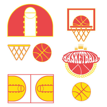 yellow crown: Basketball objects. Basketball Ball in Laurel Wreath and Crown Logo. Basketball Play Court Design. Sports symbols. Red and Yellow Sports Objects. Digital Vector Illustration.