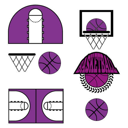 athletic type: Basketball objects. Basketball Ball in Laurel Wreath Type Logo. Basketball Play Court Design. Sports symbols. Purple and Black Sports Objects. Digital Vector Illustration. Illustration